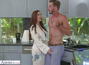 Entertaining red-hot haired female parent Diamond Foxxx seduces pulling stepson