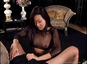 Pulling Asian cougar with reference to fishnet stockings award the brush chap a magnificent handjob with reference to a sure thing carpet-bag