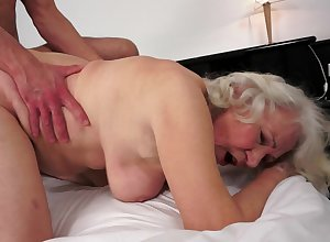 A chubby granny is object will not hear of pussy cracked at the end of one's tether a young gay blade