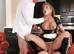Comely redhead Irish colleen is polishing one chubby peckers