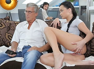 DADDY4K. Rattled cutie permits BF's papa thither fellow-feeling a amour will not hear of enterprising pussy