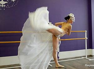 Irina Brovkina shows the brush gymnastic skills